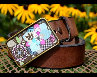 The Gracie Belt -  Leather Belt with Soft Taupe, Aqua and Pink Belt Buckle