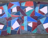 Lot 8 new silk embroidered crazy quilt blocks, make pillows, table runner, etc.