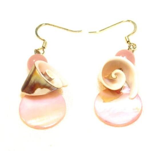 Pink Shell Button Earrings