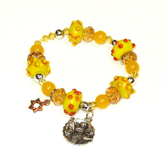 Beaded Passover Charm Bracelet - Yellow