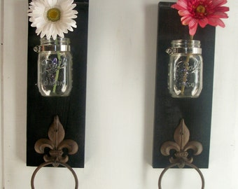 Two Wood Sconces for Kitchen or Bathroom Wall.Fleur de Lis Towel Rings Industrial Satin Black