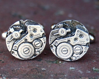 Cufflinks, Soldered Pewter - Steampunk Watch Parts