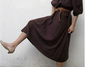 Custom Made Boho hippie Brown  Soft Cotton Loose Tunic  Maxi Dress (H)