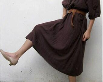 Custom Made Boho hippie Brown  Soft Cotton Loose Tunic  Maxi Dress (H)