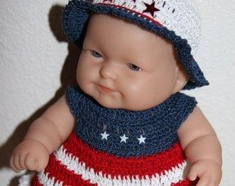 Crochet outfit for Berenguer 8 LTL inch baby doll Dress Set Red White Blue Stars