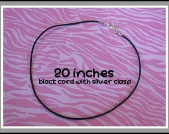 20 Inch Necklace Cord, 2mm Black Cord With Lobster Clasp, Handmade Pendant Cord - 150a