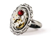 Steampunk Aristocratic Lolita Antiqued Silver Victorian Frame Ring with Vintage Watch and Red Swarovski Crystal by Velvet Mechanism