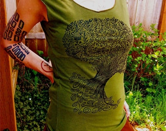 Celtic Tree Tshirt Green Womens Capsleeve Spiral Tree Tshirt S M L XL