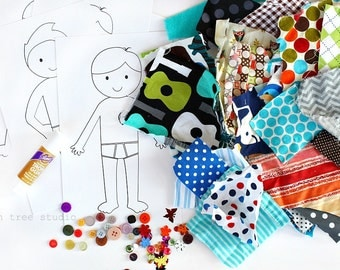 Dress me Up©   -- a Fun Paper & Fabric Doll Craft Kit for Children -- Boy Theme