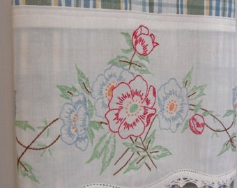 Ravishing Retro Recycled Pillowcase to Upcycled Tea Towel - Sweet Summer Bouquet - Homespun Home Decor