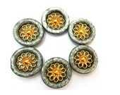 6 Vintage buttons plastic with metal gold color flower 22mm, smoke grey with glitters