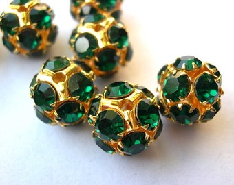 Vintage Swarovski crystal ball bead 13mm green crystals in brass setting- RARE