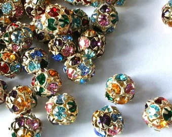 10 Vintage Swarovski crystal ball bead 10mm in brass metal setting