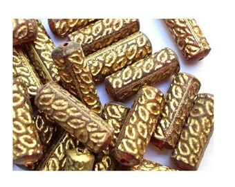 20 VINTAGE beads tube shape plastic with gold color trim 20mmx7mm