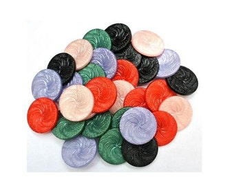 30 Vintage plastic buttons 6 colors 23mm, spiral flower pattern