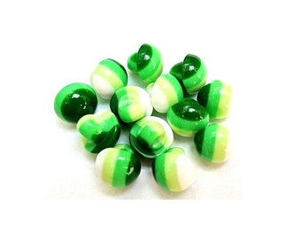 10 resin plastic buttons green and white stripes 11mmX11mm new shank buttons retro style