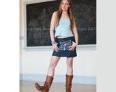 Leather & Indigo Cotton Original Couture Miniskirt