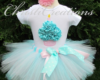 First Birthday Tutu - Aqua and Pink Tutu - Cupcake Shirt - Baby Girl Birthday Dress - Cake Smash