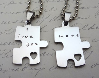Puzzle Piece Couples Necklace or Key Chain  Set -  His & Hers - I Love You More- Fiance BFF Boyfriend Fathers Day - Valentine's Day