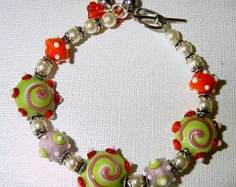 Swirls and Pearls Lampwork Bracelet with Sterling Silver and Swarovski Pearls
