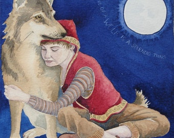 """The Love of a Wolf is a Splendid Thing'  12"""" x 8"""" fantasy print by Danielle Barlow"""