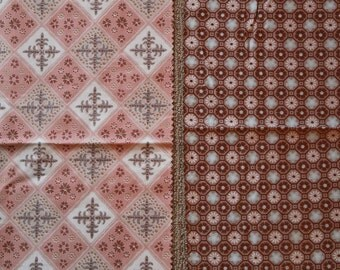 vintage 50s cotton fabric - set of 2 Waverly fabric samples - Kingsbury and Pear Tree Crossing