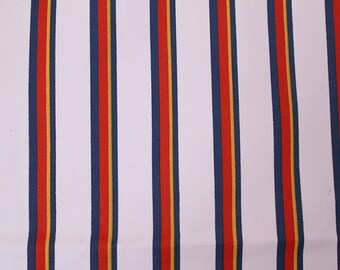 vintage 50s fabric - cute red, navy and mustard yellow stripes