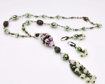 Lily of the valley a la Faberge jewelry set