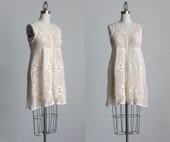Reserved for Jennifer - CREAM CROCHET DRESS 1990s Vintage Grunge Babydoll Open Knit Mini Dress