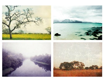 Landscape photography set of four photography prints colorful nature wall art decor - Four Seasons