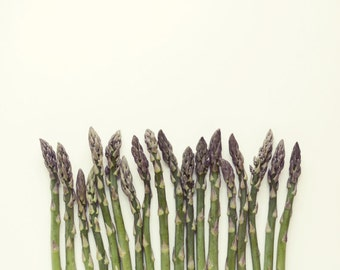 Food photography minimal modern  kitchen decor still life cooking foodie art mauve olive green dining room 'Asparagus'