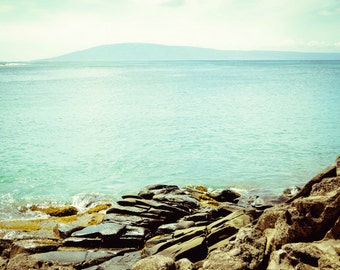 "Beach ocean photography print, Maui Hawaii pale aqua blue wall art teal gold print ""Rocky Shore"""