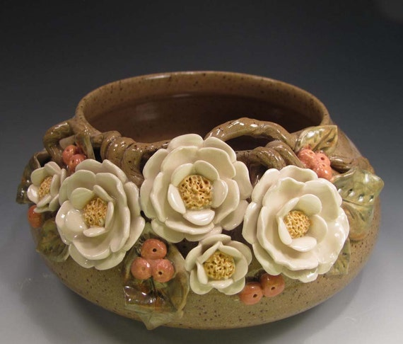 Pottery Bowl, Spring Flowers