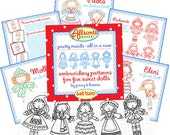 Set Two - Embroidery Patterns for 5 International Dolls - Instant Download - digital patterns for hand embroidery