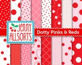 Dotty Pink & Red Digital Paper Pack - 16 Sheets - Instant Download