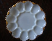 Anchor Hocking Milk Glass Egg Plate with Gold Trim Deviled Egg TYCAALAK