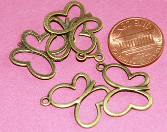 10 pcs of Antique brass butterfly pendant drop 17x19mm