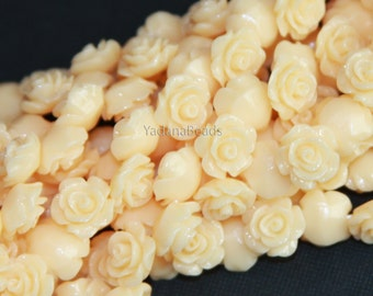 10 pcs of  Acrylic flower bead 10mm- Yellow Cream color