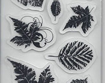 Leaves Rubber Cling Stamp by Heidi Grace - Kitsnbitscraps