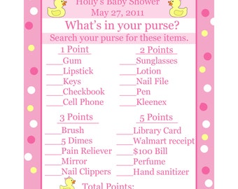 24 Baby Shower Game Cards  Whats In Your Purse Game  PINK Rubber Ducky
