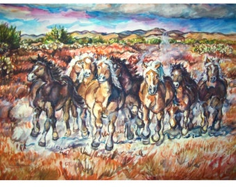 WILD THUNDER - 11x15 original painting landscape watercolor OOAK, Western, Horse, Wild Herd, Animal