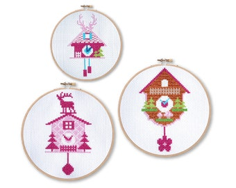 Pink Cuckoo Clocks Cross Stitch Pattern Instant Download