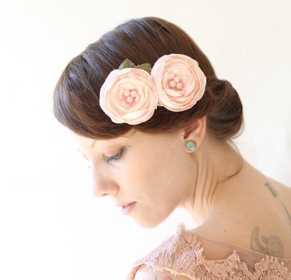 Grampo de cabelo floral, rosa ranúnculo flor, flor de cabelo nupcial - FLOR