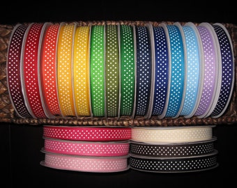 "5/8"" Swiss Dot Grosgrain Ribbon--5 yards--20 Colors to Choose from--You Choose Color"