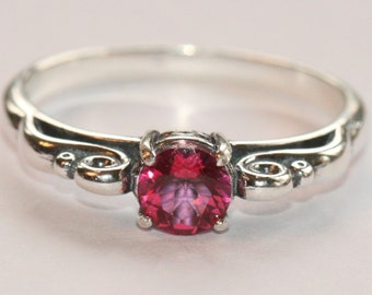 AAA Pink Topaz Ring, Sterling Silver Antique Style Ring, Size 7 Ring, Pink Ring, Pink Stackking Ring, Sterling Ring by Maggie McMane Designs