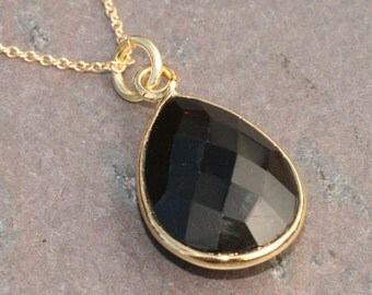 Black Onyx Necklace, Black Gold Necklace, Open Gold Vermeil Bezel Necklace, 16 inch Necklace, Black Onyx Teardrop, by Maggie McMane Designs