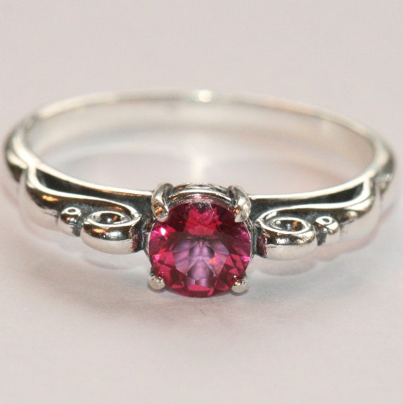 aaa pink topaz ring sterling silver antique style ring size