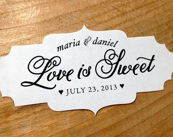 50 Wedding Favor Sticker - Parisian Style Labels - Love is Sweet Seals- Die Cut Ornate edge stickers- Envelope Seals - Enclosure Lables
