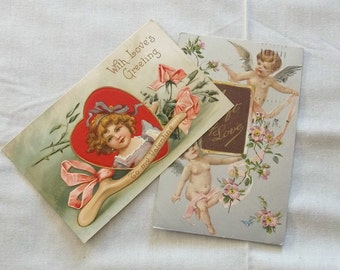 2 Antique 1909 Valentines Post Cards Germany Instant Collection Ephemera Great Scrapbook Supplies