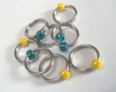 Large Ring Stitch Markers for knitting size US 11 - 8.00mm, needle hugger, dangle-free simple handmade, more colors